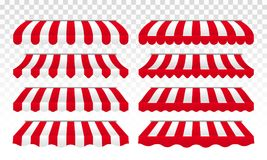 Awning tents vector striped isolated set royalty free illustration