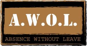 AWOL - Abwesenheit ohne Urlaubstempelvektor lizenzfreie abbildung