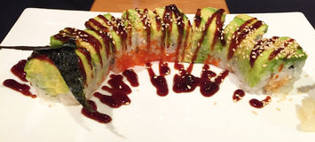Awsome Japanese Food: caterpillar sushi roll, Shanghai, China Stock Image