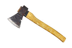 An ax. Carpenter ax with a wood handle isolated on white Stock Images