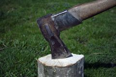 Ax in stump royalty free stock images