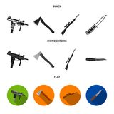 Ax, automatic, sniper rifle, combat knife. Weapons set collection icons in black, flat, monochrome style vector symbol stock illustration