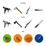 Ax, automatic, sniper rifle, combat knife. Weapons set collection icons in cartoon,black,flat style vector symbol stock stock illustration