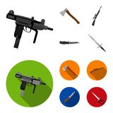Ax, automatic, sniper rifle, combat knife. Weapons set collection icons in cartoon,flat style vector symbol stock royalty free illustration