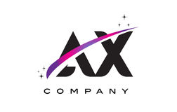 AX A X Black Letter Logo Design with Purple Magenta Swoosh. And Stars Stock Photo