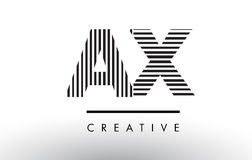 AX A X Black and White Lines Letter Logo Design. Stock Photography
