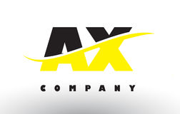 AX A X Black and Yellow Letter Logo with Swoosh. Stock Photo