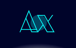 Ax a x blue line circle alphabet letter logo icon template vecto Stock Photography
