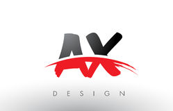 AX A X Brush Logo Letters with Red and Black Swoosh Brush Front Royalty Free Stock Image