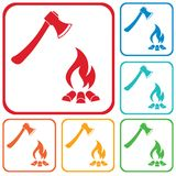 The ax and campfire icon Stock Image