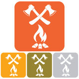 The ax and campfire icon Royalty Free Stock Photo