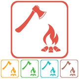 The ax and campfire icon Royalty Free Stock Photography