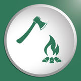 The ax and campfire icon Stock Photography