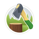 Ax chop  wooden log Royalty Free Stock Photo