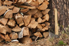 An ax and chopped wood Royalty Free Stock Image