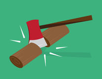 Ax Chopping Wood. Red ax chopping wood in half Stock Image