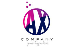 AX A X Circle Letter Logo Design with Purple Dots Bubbles. AX A X Circle Letter Logo Design with Purple Magenta Dots Bubbles Vector Illustration Stock Photos