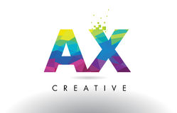 AX A X Colorful Letter Origami Triangles Design Vector. Stock Photo