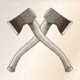 Ax crossed hand drawing engraving illustration on vintage backgr. Ound Royalty Free Stock Photos