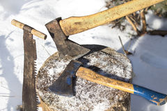 Ax. Device for chopping trees. Tools for chopping trees Stock Photography