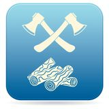 The ax and firewood icon. Flat Vector illustration Royalty Free Stock Images