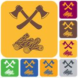 The ax and firewood icon. Flat Vector illustration Royalty Free Stock Photography