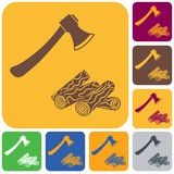 The ax and firewood icon. Flat Vector illustration Stock Photos