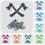 The ax and firewood icon. Flat Vector illustration Royalty Free Stock Photos