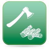The ax and firewood icon. Flat Vector illustration Royalty Free Stock Photo