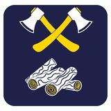 The ax and firewood icon. Flat Vector illustration royalty free illustration