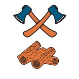 The ax and firewood icon. Flat Vector illustration vector illustration