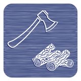 The ax and firewood icon. Flat Vector illustration Stock Photography