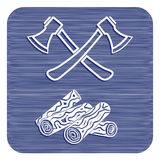 The ax and firewood icon. Flat Vector illustration Stock Image