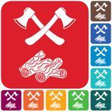 The ax and firewood icon. Flat Vector illustration stock illustration