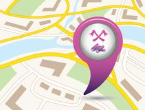 The ax and firewood icon. Flat Vector illustration  Symbol on the map pointer Royalty Free Stock Photos