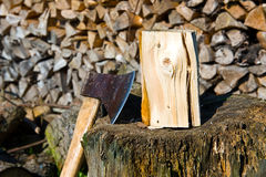 Ax and firewood Royalty Free Stock Photography