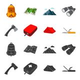 Ax, first-aid kit, tourist tent, folding knife. Camping set collection icons in black,cartoon style vector symbol stock. Illustration Stock Images