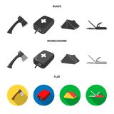 Ax, first-aid kit, tourist tent, folding knife. Camping set collection icons in black, flat, monochrome style vector. Symbol stock illustration Stock Photography