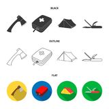 Ax, first-aid kit, tourist tent, folding knife. Camping set collection icons in black,flat,outline style vector symbol. Stock illustration Stock Images