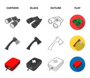 Ax, first-aid kit, tourist tent, folding knife. Camping set collection icons in cartoon,black,outline,flat style vector. Symbol stock illustration Royalty Free Stock Images