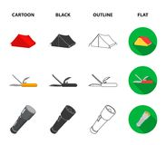 Ax, first-aid kit, tourist tent, folding knife. Camping set collection icons in cartoon,black,outline,flat style vector. Symbol stock illustration Stock Images