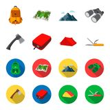 Ax, first-aid kit, tourist tent, folding knife. Camping set collection icons in cartoon,flat style vector symbol stock. Illustration Royalty Free Stock Images
