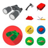 Ax, first-aid kit, tourist tent, folding knife. Camping set collection icons in cartoon,flat style vector symbol stock. Illustration Royalty Free Stock Image