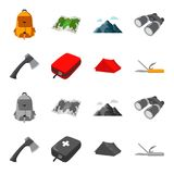Ax, first-aid kit, tourist tent, folding knife. Camping set collection icons in cartoon,monochrome style vector symbol. Stock illustration Royalty Free Stock Photos
