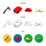 Ax, first-aid kit, tourist tent, folding knife. Camping set collection icons in cartoon,outline,flat style vector symbol. Stock illustration Stock Photo