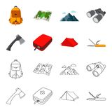 Ax, first-aid kit, tourist tent, folding knife. Camping set collection icons in cartoon,outline style vector symbol. Stock illustration Royalty Free Stock Image
