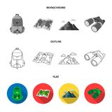 Ax, first-aid kit, tourist tent, folding knife. Camping set collection icons in flat,outline,monochrome style vector. Symbol stock illustration Royalty Free Stock Photography