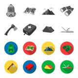 Ax, first-aid kit, tourist tent, folding knife. Camping set collection icons in monochrome,flat style vector symbol. Stock illustration Royalty Free Stock Photography