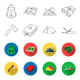 Ax, first-aid kit, tourist tent, folding knife. Camping set collection icons in outline,flat style vector symbol stock. Illustration Stock Photo