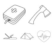 Ax, first-aid kit, tourist tent, folding knife. Camping set collection icons in outline style vector symbol stock. Illustration Stock Image